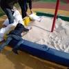 Завезли чистый песок на детские площадки
